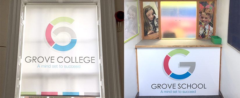 Roller Blind and Foamex Boards for the Pupil Reception at Grove School