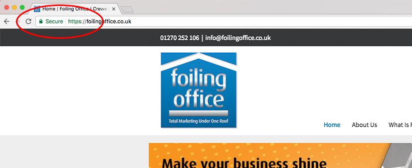 Image of SSL certificate on foiling office website