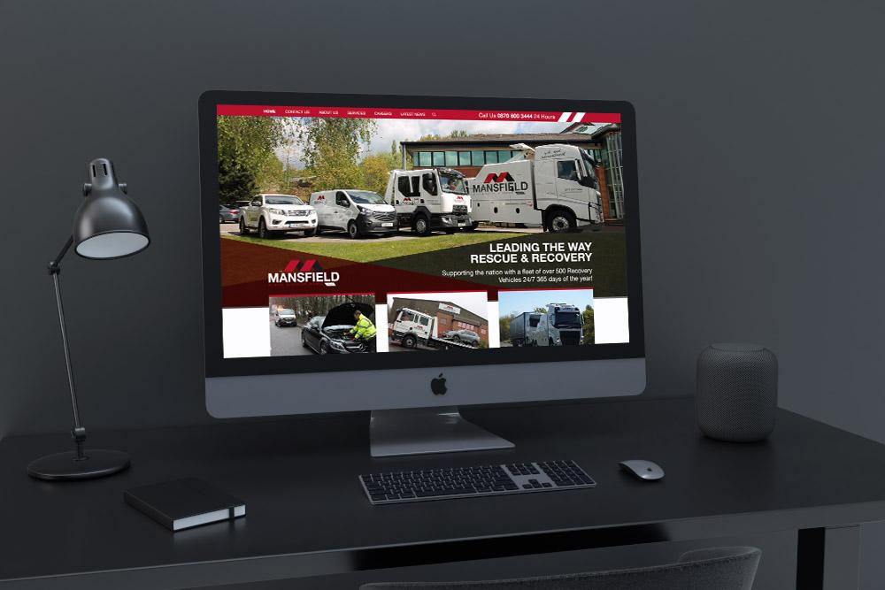 Corporate website on screen