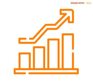 Orange graph to represent growth using marketing