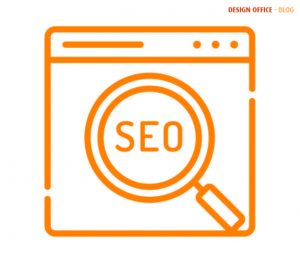 Orange SEO icon to represent being found on online search engines